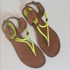 Coach Neon Sandals Size 7.5 Yellow Brown